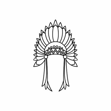 indian headdress: Indian headdress icon in outline style isolated on white background