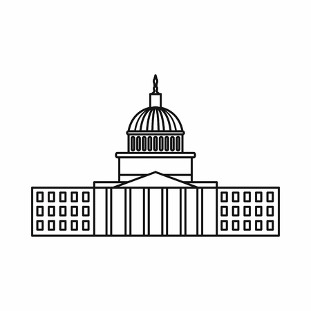 capitol hill: Capitol icon in outline style isolated on white background