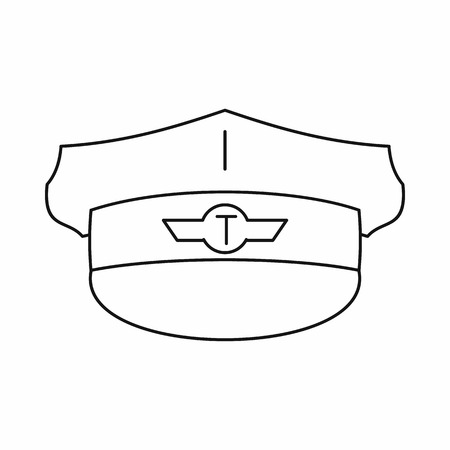 chauffeur: Cap taxi driver icon in outline style isolated on white background