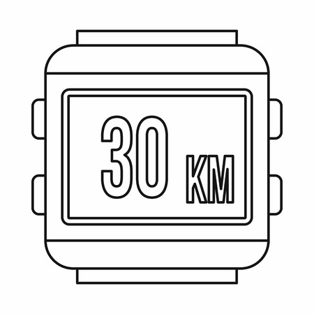 kilometre: Speedometer bike icon in outline style isolated on white background Illustration