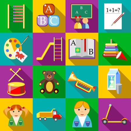 jardin de infantes: iconos fijados en edad preescolar estilo plano para cualquier diseño