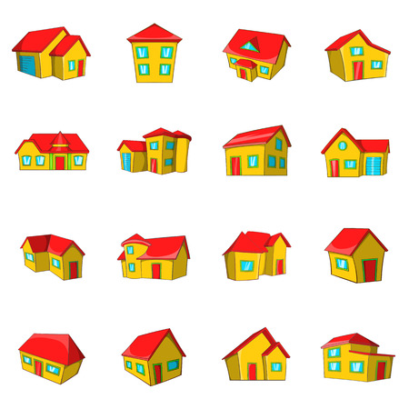 Town house cottage and assorted real estate building icons set in cartoon style Иллюстрация