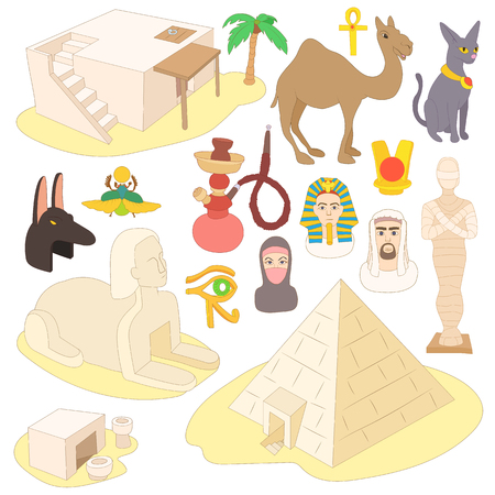 egyptian culture: Egypt icons set in cartoon style isolated on white background