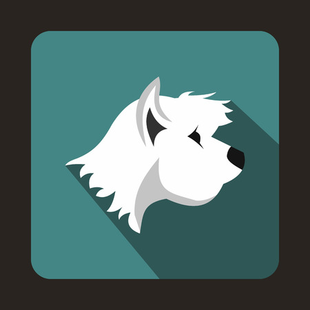 animals shadow: White terrier dog icon in flat style with long shadow. Animals symbol