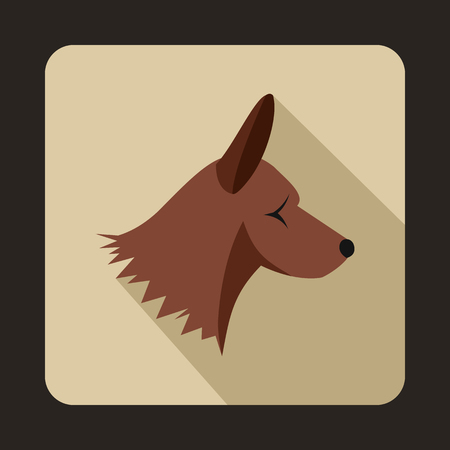 collie: Collie dog icon in flat style with long shadow. Animals symbol