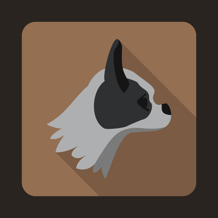 pug dog: Pug dog icon in flat style with long shadow. Animals symbol Illustration