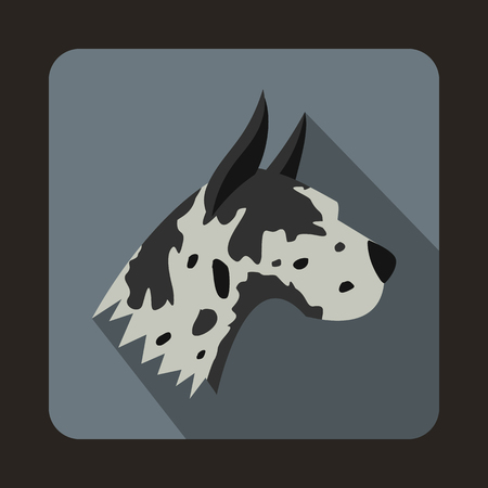 dane: Great dane dog icon in flat style with long shadow. Animals symbol
