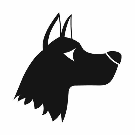 doberman: Doberman dog icon in simple style isolated on white background. Animals symbol Illustration
