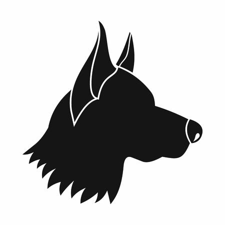 head shape: Shepherd dog icon in simple style isolated on white background. Animals symbol