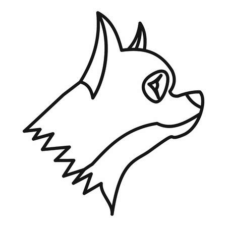 pinscher: Pinscher dog icon in outline style isolated on white background. Animals symbol Illustration