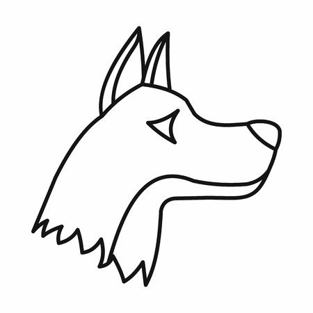 doberman: Doberman dog icon in outline style isolated on white background. Animals symbol