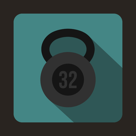 32: Kettlebell 32 kg icon in flat style on a blue background Illustration