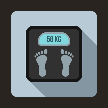 analog weight scale: Weight scale icon in flat style on a light blue background Illustration