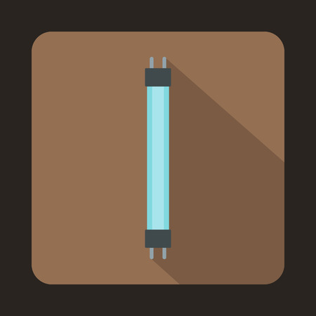 fluorescence: Fluorescence lamp icon in flat style on a brown background