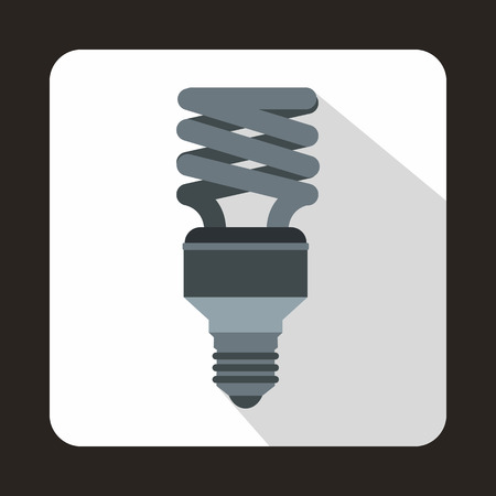 compact fluorescent lightbulb: Energy saving bulb icon in flat style on a white background
