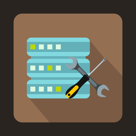 isp: Database with screwdriver and spanner icon in flat style on a brown background Illustration