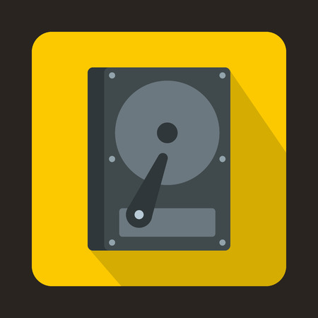 hdd: HDD icon in flat style on a yellow background