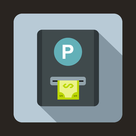 drive ticket: Parking fee icon in flat style on a light blue background