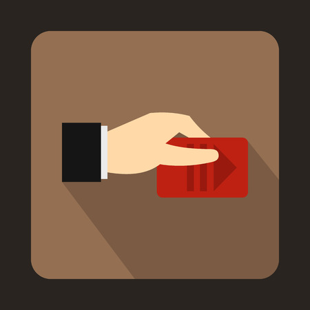 warden: Hand with parking ticket icon in flat style on a brown background