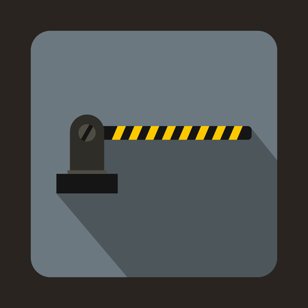 entrance is forbidden: Parking barrier icon in flat style on a gray background