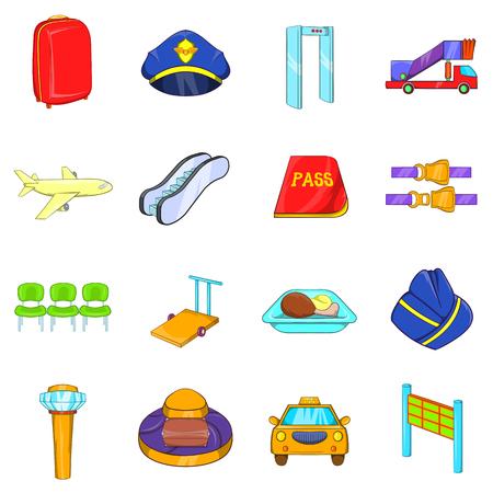 gente aeropuerto: Iconos del aeropuerto ubicado en el estilo de dibujos animados aislado en el fondo blanco