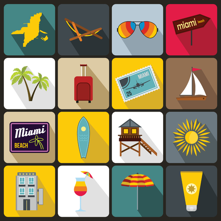 panoramic beach: Miami icons set in flat style for any design