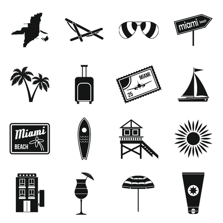 miami south beach: Miami icons set in simple style isolated on white background