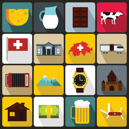 swiss flag: Switzerland Icons set in flat style for any design
