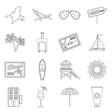 miami south beach: Miami icons set in outline style isolated on white background Illustration