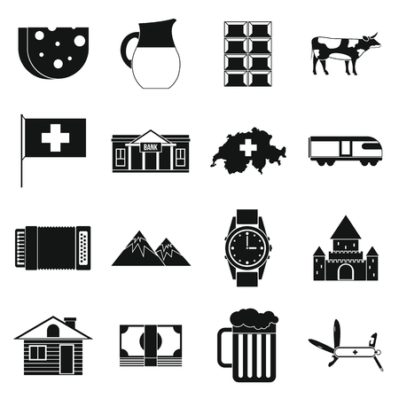 swiss alps: Switzerland Icons set in simple style isolated on white background Illustration