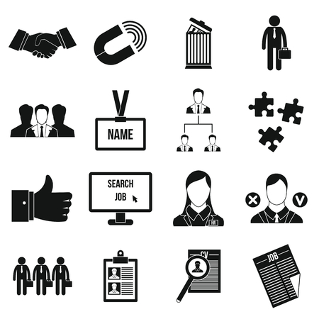 relate: Human resource management icons set in simple style for any design Illustration