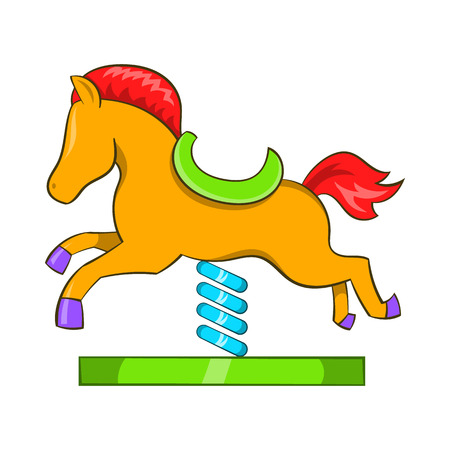 teeter: Horse spring see saw icon in cartoon style on a white background