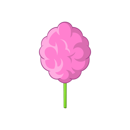 spun sugar: Pink cotton candy icon in cartoon style on a white background