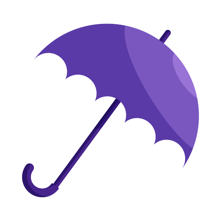 cartoon umbrella: Violet umbrella icon in cartoon style on a white background Illustration