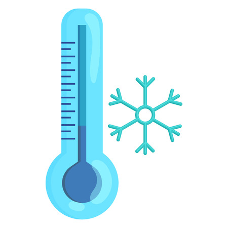 low scale: Frozen thermometer and snowflake icon in cartoon style on a white background Illustration