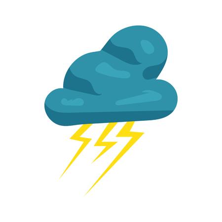 흰색 배경에 만화 스타일 구름과 번개 아이콘