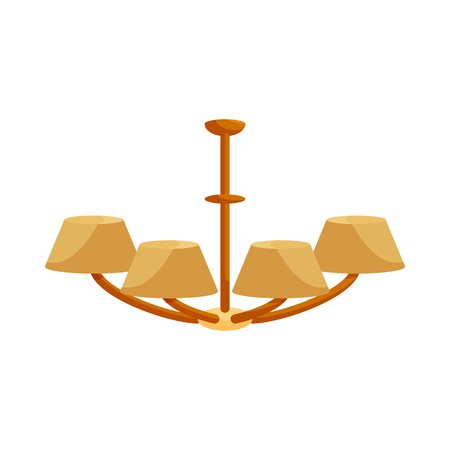 wall sconce: Chandelier icon in cartoon style on a white background Illustration