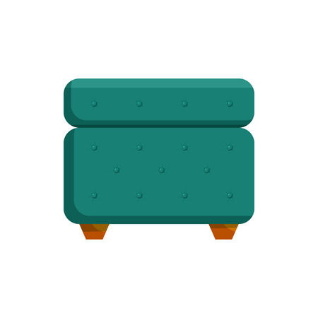 Turquoise pouf furniture icon in cartoon style on a white background Illustration