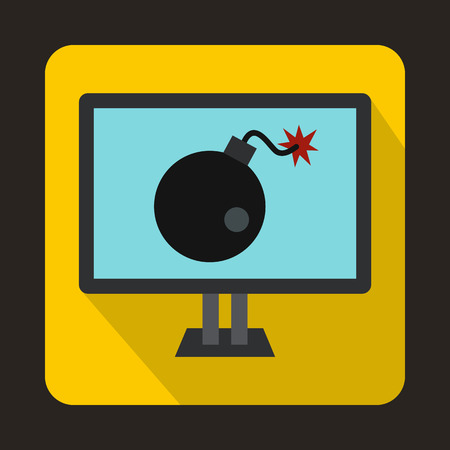 cyber war: Bomb on computer monitor icon in flat style on a yellow background