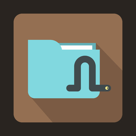 computer worm: Computer worm icon in flat style on a brown background Illustration