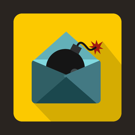 email bomb: Envelope with bomb icon in flat style on a yellow background Illustration