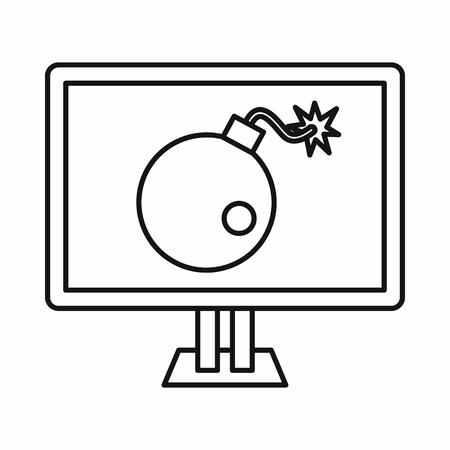 cyber warfare: Bomb on computer monitor icon in outline style isolated on white background
