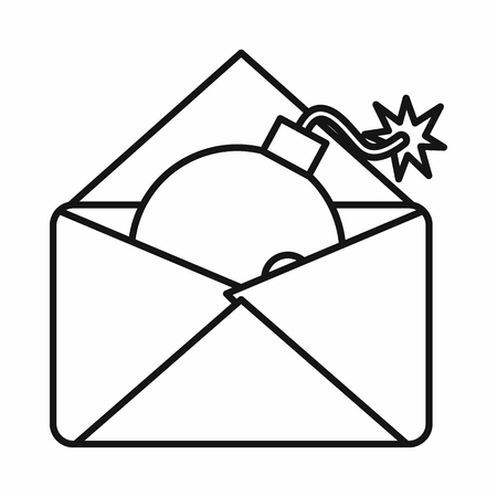 email bomb: Envelope with bomb icon in outline style isolated on white background