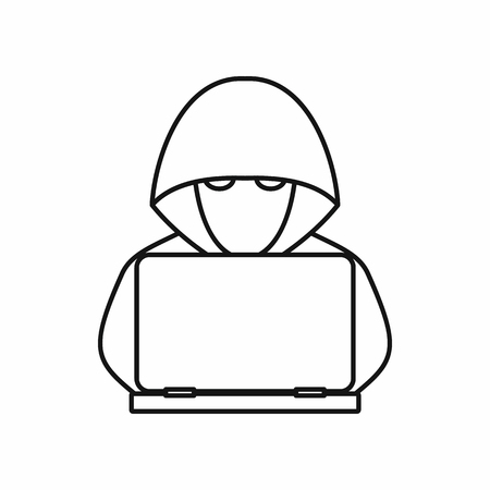 secret identities: Computer hacker with laptop icon in outline style isolated on white background