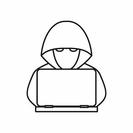 白い背景に分離されたアウトライン スタイルのアイコンをラップトップ コンピューター ハッカー