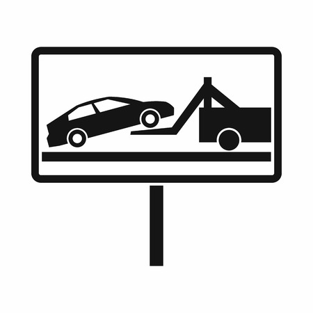 evacuate: No parking sign icon in simple style isolated on white background Illustration