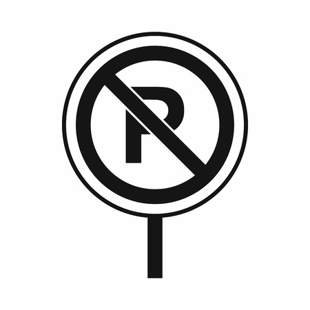 no parking sign: No parking sign icon in simple style isolated Illustration