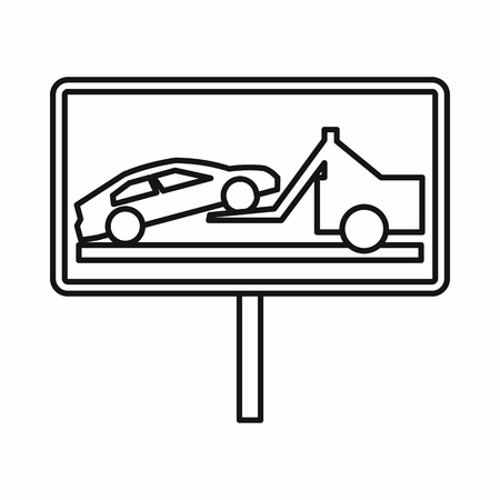 no parking sign: No parking sign icon in outline style isolated on white background Illustration