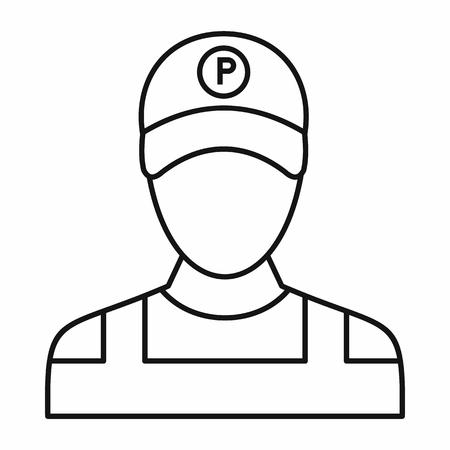 coverall: Parking attendant icon in outline style isolated on white background