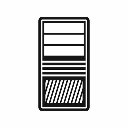 power supply unit: Black computer system unit icon in simple style isolated on white background